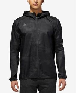$200 Adidas Men'S Gray Camo Water Repellent Wind Breaker Hoo