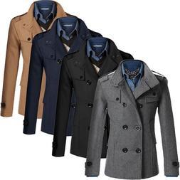 2018 NEW <font><b>Men</b></font> Winter Warm Trench Woolen <