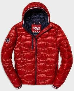 $295 Superdry Men's Red Full Zip Quilted Hooded Lightweight