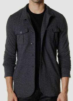 $498 John Varvatos Star USA Men Gray Stand-Collar Button Kni