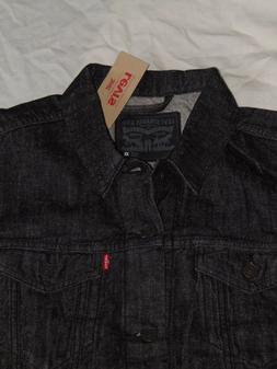 $ 90 NEW ! Men's LARGE Levi's Denim Trucker Black Jacket 001