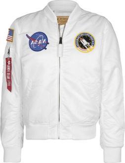 Alpha Industries Men`s NASA MA-1 Flight Bomber Jacket, White