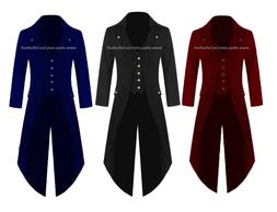 Banned Men Steampunk Tailcoat Jacket Velvet 3 COLORS Gothic