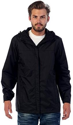 Gioberti Men's Waterproof Rain Jacket, Black, XL