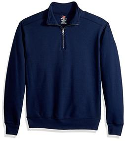 Hanes Mens Nano Quarter-Zip Fleece Jacket, Navy, M