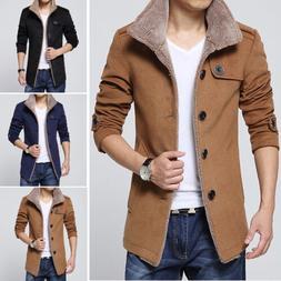 Men's Fleece Warm Trench Coat Thick Jacket Peacoat Long Casu