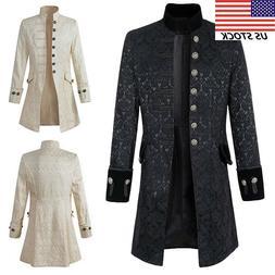 US Men Gothic Brocade Jacket Frock Overcoat Steampunk Victor