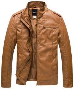 Wantdo Men's Stand Collar Leather Jacket Outwear