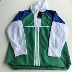 Adidas Mens Sport ID Training Anorak Jacket CV3270 Green Whi