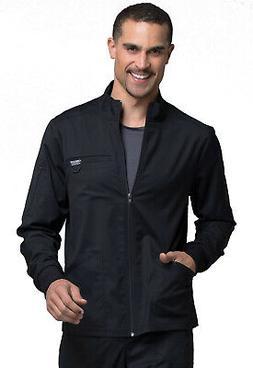 Black Cherokee Scrubs Workwear Revolution Mens Zip Front Jac