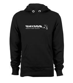 BOEING Logo Pullover Hoodie Hooded Jacket Sweats Black