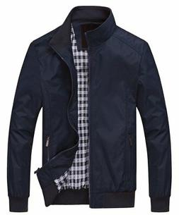 Chouyatou Bomber Jacket, Mens Blue Poly Collared, Button 1In