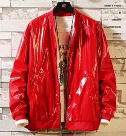 Boys Men's Fashion PU Faux Leather Jackets Coats  shiny leat