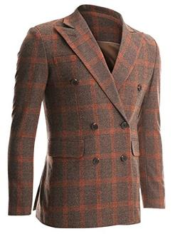 FLATSEVEN Mens Casual Orange Plaid Check Wool Sport Coat Bla