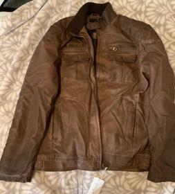 ChouYatou Men's Vintage PU Brown Leather Jacket - Stand up c