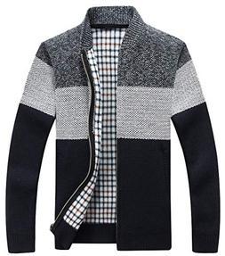 chouyatou Men's Classic Band Collar Full Zip Color-Block Str