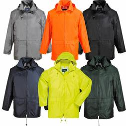 Portwest Classic Rain Jacket Hooded Water Proof Thermal Zipp