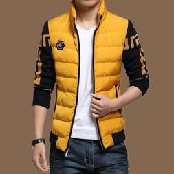 Coat For Men Warm Padded Jacket Spliced Decor Thick Warmer C