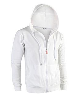 Tov Nine Mens Cotton Lightweight Slim Fit Pocket Zip-Up Hood