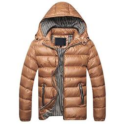 WOCACHI Mens Down Jackets Puffer Coat Detachable Hooded Thic