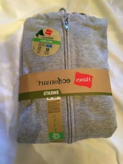 Hanes Ecosmart Men Hoodies Full Zip Sweats Jacket Gray SZ La