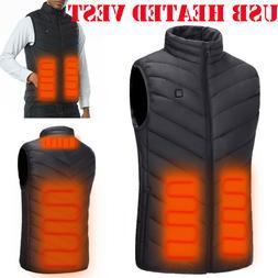 Electric USB Heated Vest Jacket Coat Warm Up Heating Pad Clo