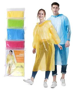Emergency Disposable Rain Ponchos for Adults  with Drawstrin