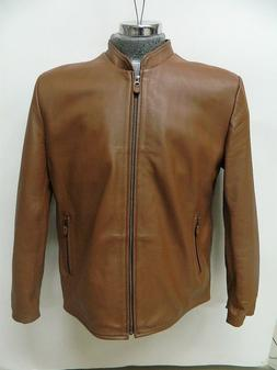 Men sizes genuine lamb leather jacket , with two pockets out