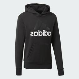 adidas Men's Essential Linear Logo Pullover Hoodie, Black/Wh