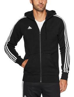 adidas Men's Essentials 3-Stripe Full Zip Fleece Hoodie, Bla