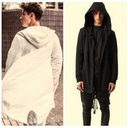 Fashion Men's Long Line Hip Hop Zipper Hoodie Sweatshirts Ja