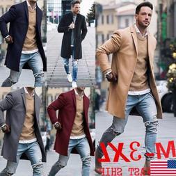 Fashion Men Wool Coat Winter Trench Coat Outwear Overcoat Lo