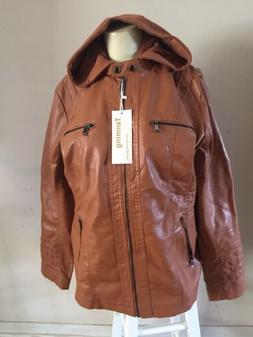 TANMING  Faux Leather Jacket With Removable Zip In Hood. Siz