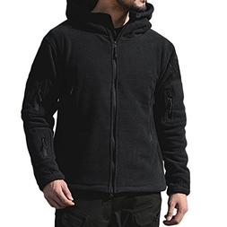 PrettyChic Men's Fleece Hoodie Jacket Full Zip Military Tact