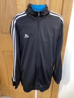 💥Adidas Full Zip Up Track Jacket Black Athletic 3 Stripe