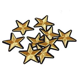 gold star patches iron sew