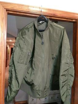 goodthreads mens bomber jacket, olive, x-large