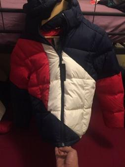 Tommy Hilfiger Goose Down Hooded  Puffer Jacket Blue White &