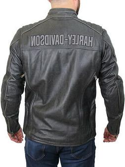 Harley-Davidson Mens Midway Distressed Charcoal Leather Jack