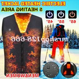Heated Vest Electric Jacket Coat USB Warm Heat Pad Winter Bo