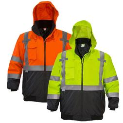 Hi-Vis Class 3 Safety Jacket Neon Reflective Weather Resista