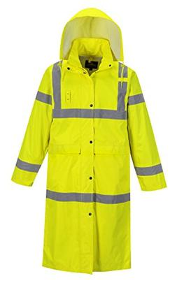 "Portwest Hi-Vis Classic Rain Coat 48"" in Length, Hi-Vis Wate"