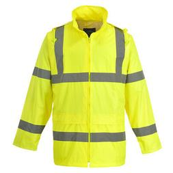 Hi Vis Rain Waterproof Jacket, Mens Safety Coat, Reflective