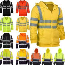 Hi Viz Visibility Men Hooded Coat Jacket Sweatshirt Safety W
