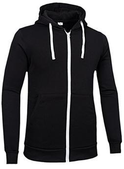 Men's Hoodie Hoodies Mens Black Zipper Up Jacket Fashion Hoo