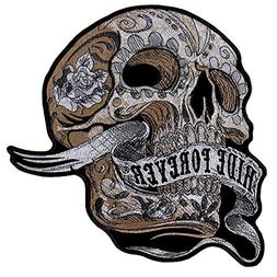 hot leathers banner skull high thread embroidered