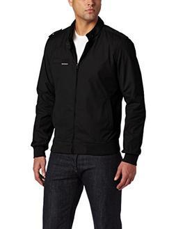 Members Only Men's Original Iconic Racer Jacket, Black, Larg