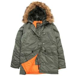 Alpha Industries Men's Sage Green Slim Fit N-3B Parka Jacket