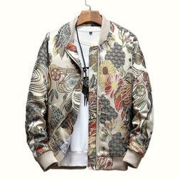 Japanese Men Embroidery Bomber Jacket Coat