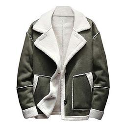 kemilove Men's Winter Jacket Button Outwear Shearling Lined